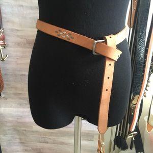 Madewell tan belt w/silver studs